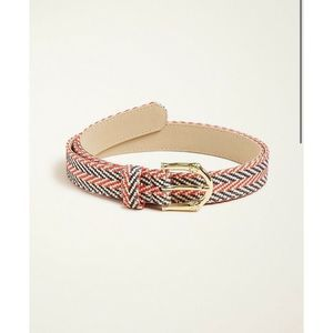 Ann Taylor Belt Bamboo Buckle Straw Red Blue Ivory